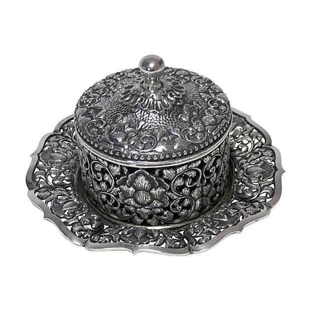 Glass 1937 Coin Silver Victorian Condiment Pot For Sale - Image 7 of 7