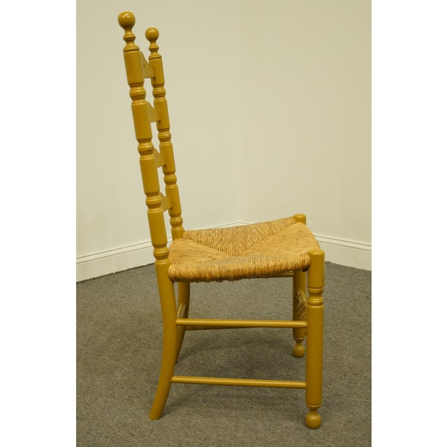 Brown Late 20th Century Hitchcock Stenciled Ladder Back Accent Side Chair For Sale - Image 8 of 10