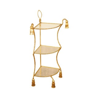 Hollywood Regency Italian Gilt Metal 3 Tier Etagere Corner Shelf For Sale
