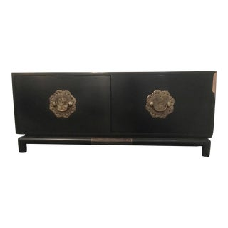 Brass Detail Black Lacquer Chest