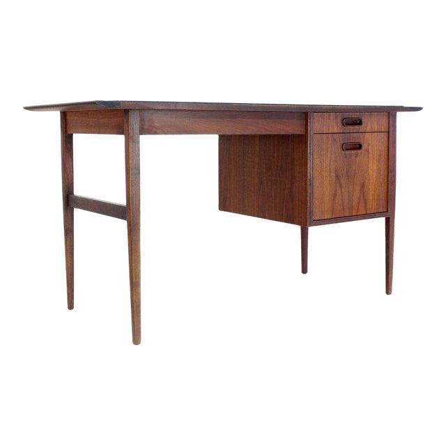 Medium Small Danish Mid-Century Modern Oiled Walnut Desk With Slate Top For Sale