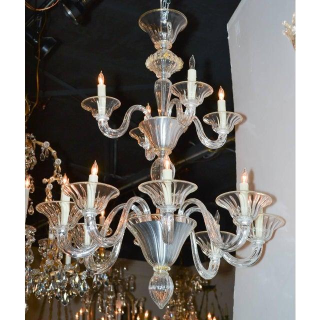 Gold Beautiful Venetian Blown Glass Chandelier For Sale - Image 8 of 9