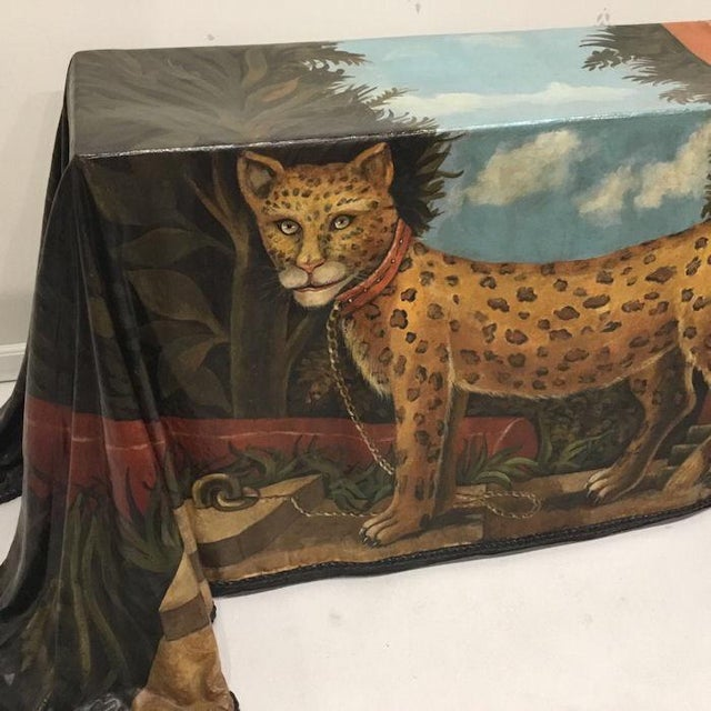 1980s 1980s Realism Draped Leopard Painting Console Table For Sale - Image 5 of 11