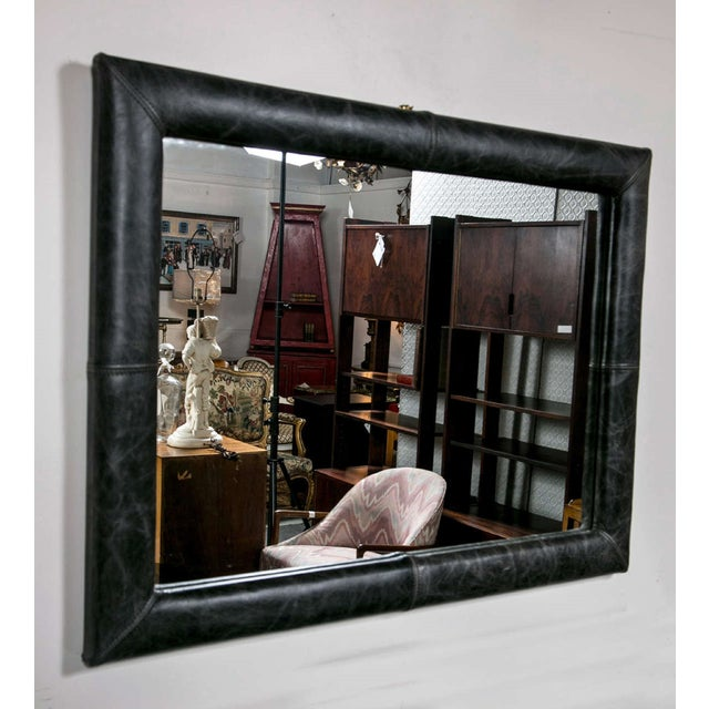 Mid Century Decorated Leather Mirror - Image 5 of 5
