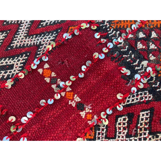 Tribal Moroccan Vintage Ethnic Textile with Sequins North Africa, Handira For Sale - Image 3 of 13