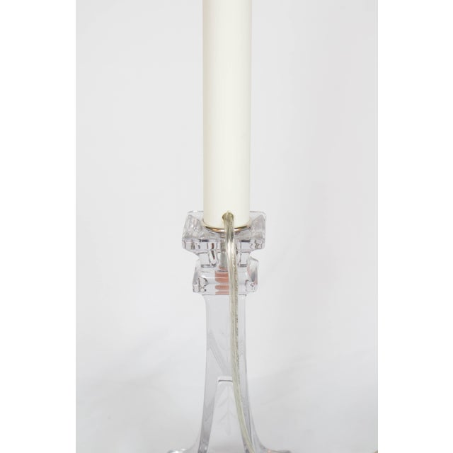 Custom Single Glass Candlestick Lamp For Sale - Image 4 of 8