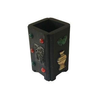 """Asian Wooden Brush /Pen /Flower/Holder W/ Jade/Lapis/Hard Stones 5.5"""" H For Sale"""