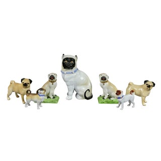 Pottery and Porcelain Pug Dogs - Collection of 42 For Sale