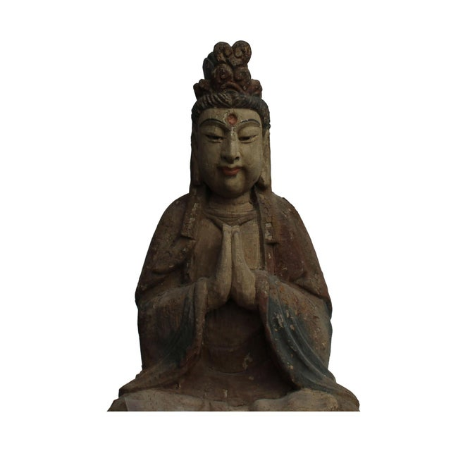 Handcrafted Chinese Distressed Finish Wood Bodhisattva Statue For Sale In San Francisco - Image 6 of 7