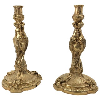 Pair of Louis XV Bronze Candlesticks For Sale