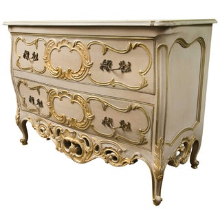 French Creme Peinte Bombe Commode For Sale
