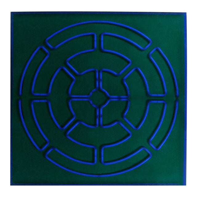 """""""Blue Radiance"""" Mandala Neon Sculpture by Christopher Sproat For Sale"""