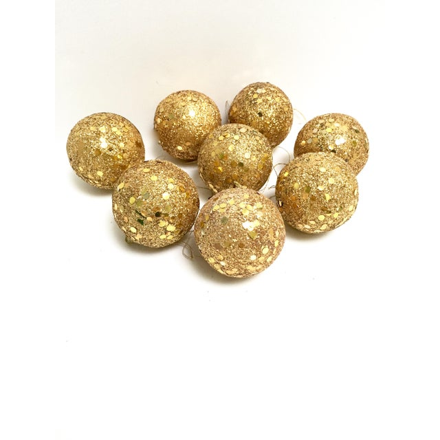 Vintage gold glitter Spangle ball ornaments - Set of 8 For Sale - Image 12 of 12