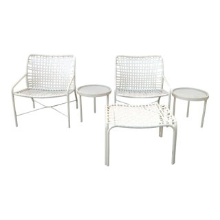 Vintage Mid Century Tropitone Strap Patio Set- 5 Pieces For Sale