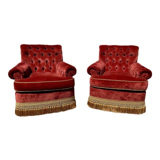 Custom Made Red Velvet Tufted Chairs With Tassel Trim - a Pair For Sale
