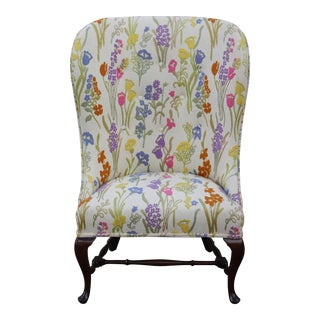 Vintage Mid Century Floral Wingback Chair For Sale