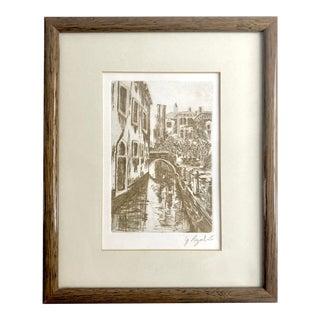 Vintage Venetian Etching For Sale