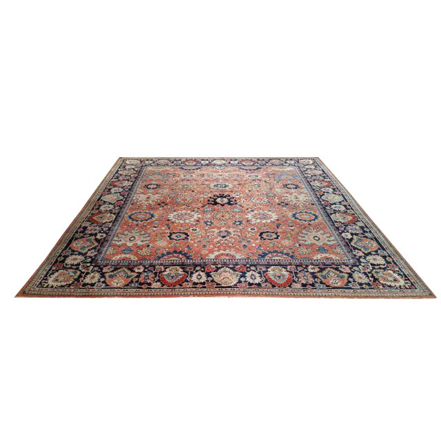 Antique Persian Sarouk Fereghan Hand Made Knotted Rug - 8′3″ × 9′ - Size Cat. 8x10 9x9 For Sale