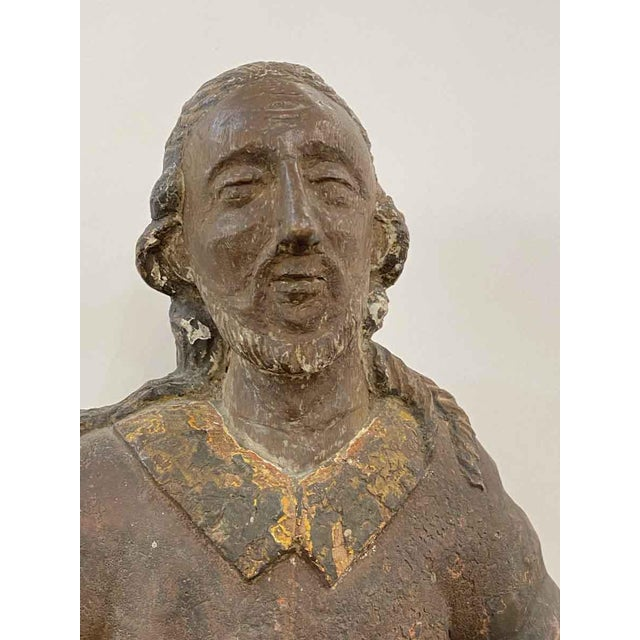 Traditional Antique San Isidro 32 In. Wood Statue For Sale - Image 3 of 13