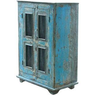 Vintage Rustic Regatta Blue Wood Display Cabinet For Sale