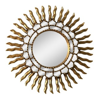 1970s Mid Century Modern Sunburst Gold Wood Wall Mirror