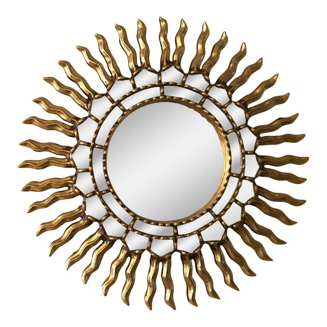 1970s Mid Century Modern Sunburst Gold Wood Wall Mirror - Image 1 of 4