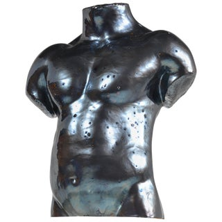Life Size Ceramic Male Bust by Artist S Porter, Circa 1985 For Sale
