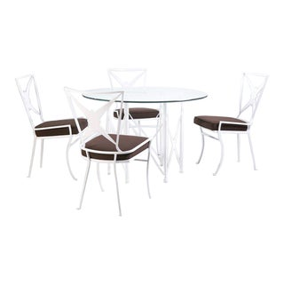 Hollywood Regency Metal Outdoor Dining Set - Set of 5