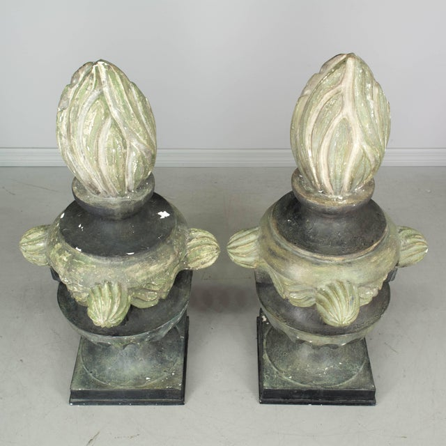 Pair of French Zinc Architectural Finials For Sale - Image 9 of 11