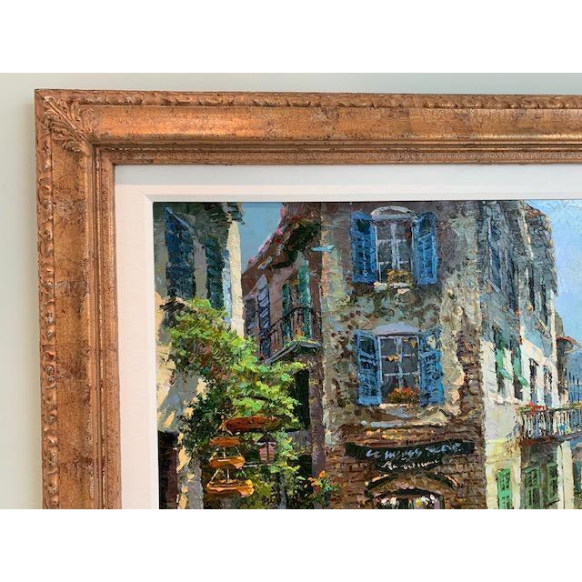 1990s Vintage Original Italian Street Scene Painting For Sale - Image 9 of 13