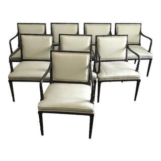 Vintage Faux Bamboo Arm Chairs - Set of 8 For Sale