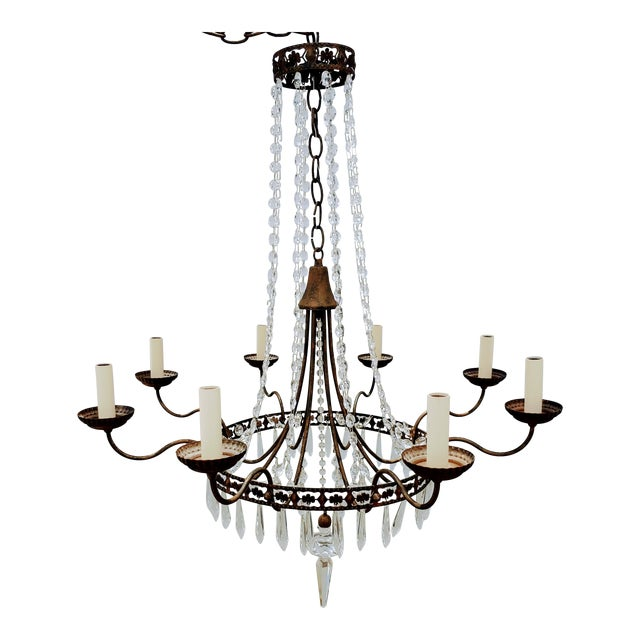 Mid-Century Vintage Glass and Metal Chandelier For Sale