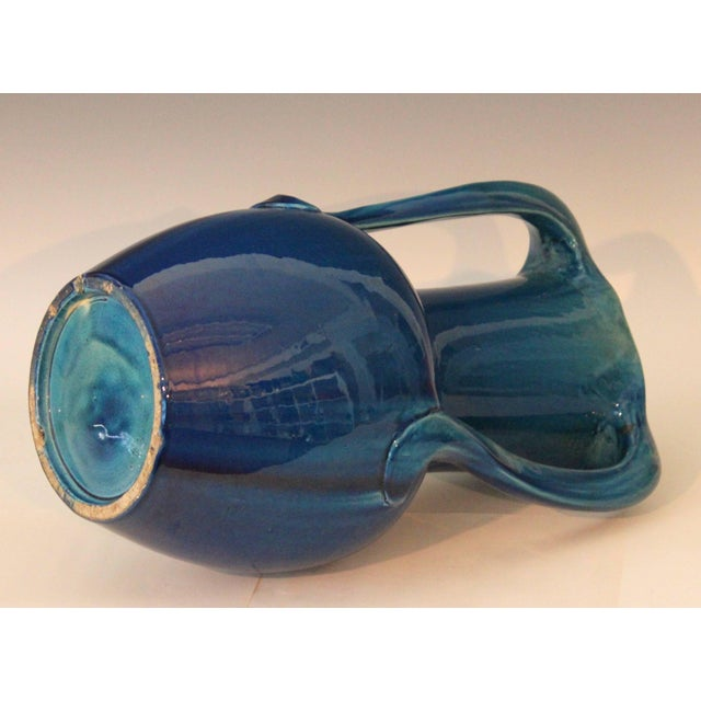 Large Kyoto Pottery Antique Art Nouveau S Handled Blue Monochrome Vase For Sale In New York - Image 6 of 10
