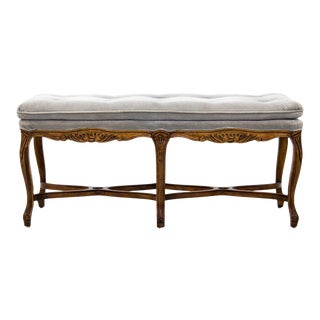 Louis XV Carved Walnut Bench With Gray Tufted Velvet Upholstery by Bernhardt For Sale