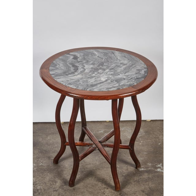 Late 19th Century Late 19th Century Chinese Round Rosewood Folding Table For Sale - Image 5 of 8