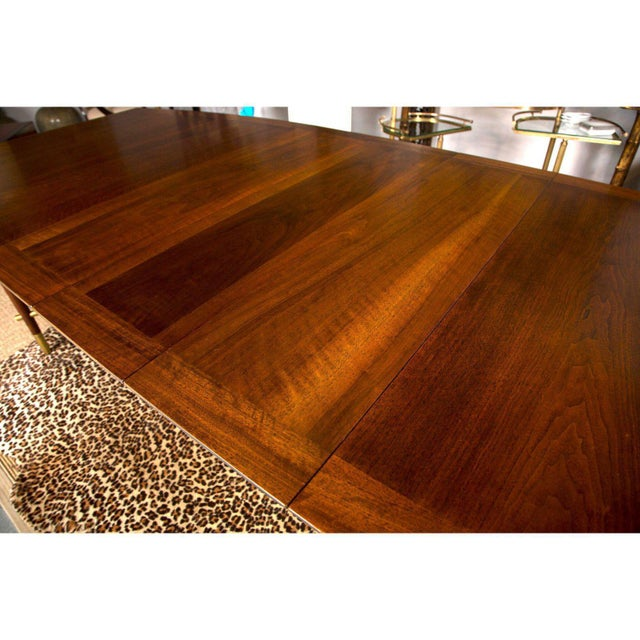 Johnson Furniture Co. Bert England for Johnson Furniture Walnut Dining Table With 3 Leaves For Sale - Image 4 of 9
