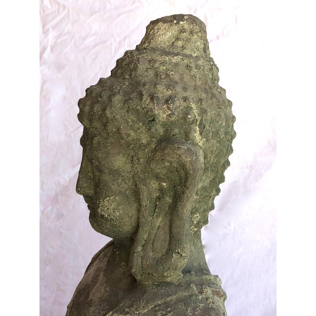 Asian Antique Garden Terra Cotta Buddha Statue, Indoor or Outdoor, Original Patina For Sale - Image 3 of 12