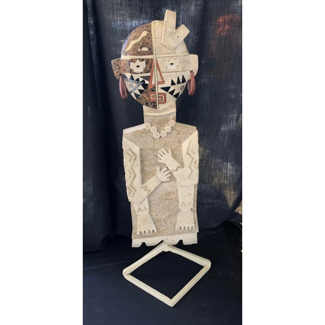 Tan 1970s Vintage Inlay Marble Sculpture For Sale - Image 8 of 8