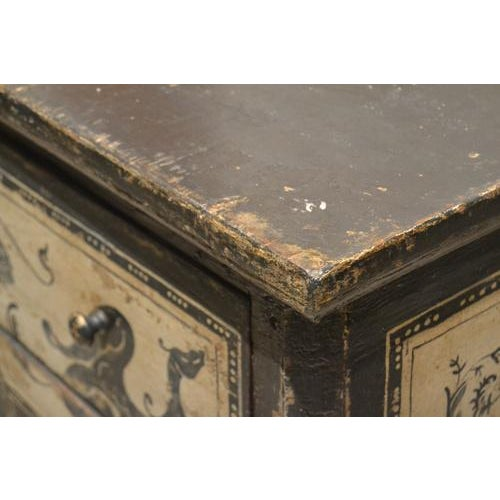 Wood Antique Chest With New Paint From Spain For Sale - Image 7 of 13