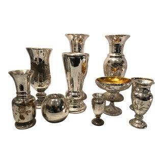 Antique Mercury Glass Vessels - 7 Pieces For Sale