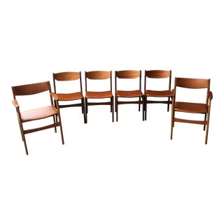 Mid-Century Danish Modern Beech & Teak Dining Chairs - Set of 6