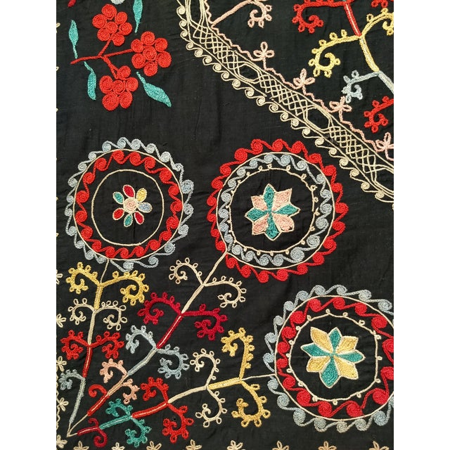 "Late 1800s Hand-Stitched Suzani- 3' X 5' 3"" For Sale - Image 11 of 13"