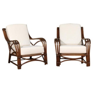 Stellar Pair of Restored Rattan Style Loungers For Sale
