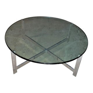 MCM Milo Baughman Round Glass and Chrome Coffee Table For Sale