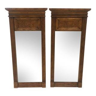 Vintage Trumeau Oak and Burl Wood Mirrors- a Pair For Sale