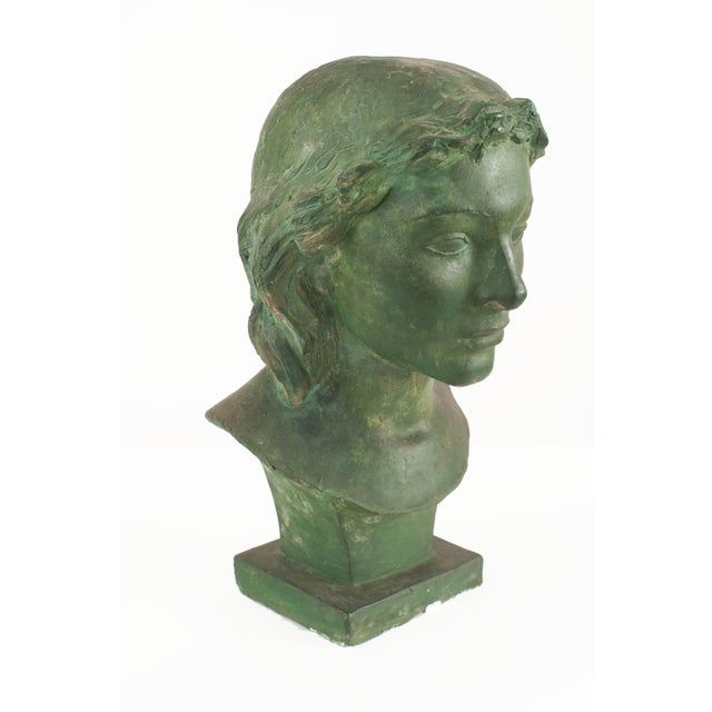 Art Deco French Art Deco Green Patina Plaster Busts For Sale - Image 3 of 4