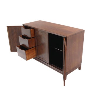 Pair of Walnut Three-Door Credenzas Bachelor Chests Drawers Copper Pulls For Sale