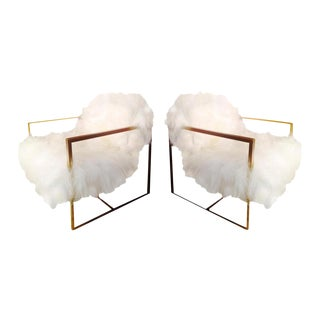 Mid-Century Floating Sheepskin Chairs - a Pair