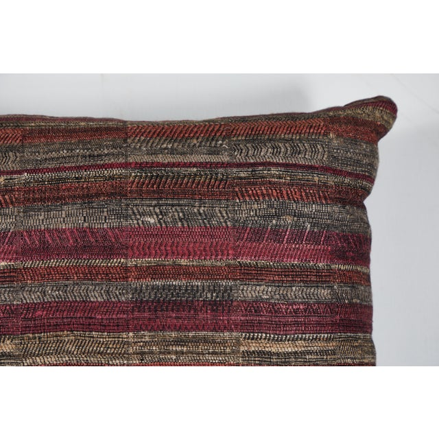 Contemporary Indian Handwoven Pillow in Sunset Stripes For Sale - Image 3 of 6