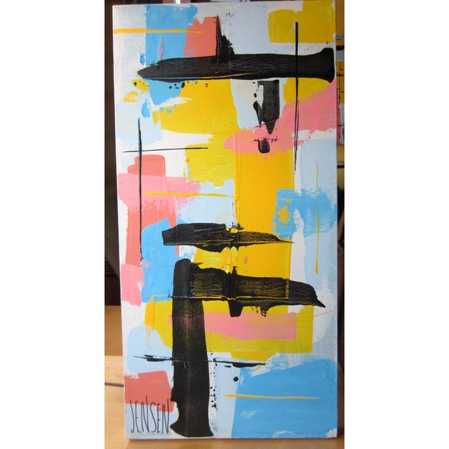 This is a vintage mid century modern painting on a vertical stretched canvas panel. It is done in bright cool tones of...